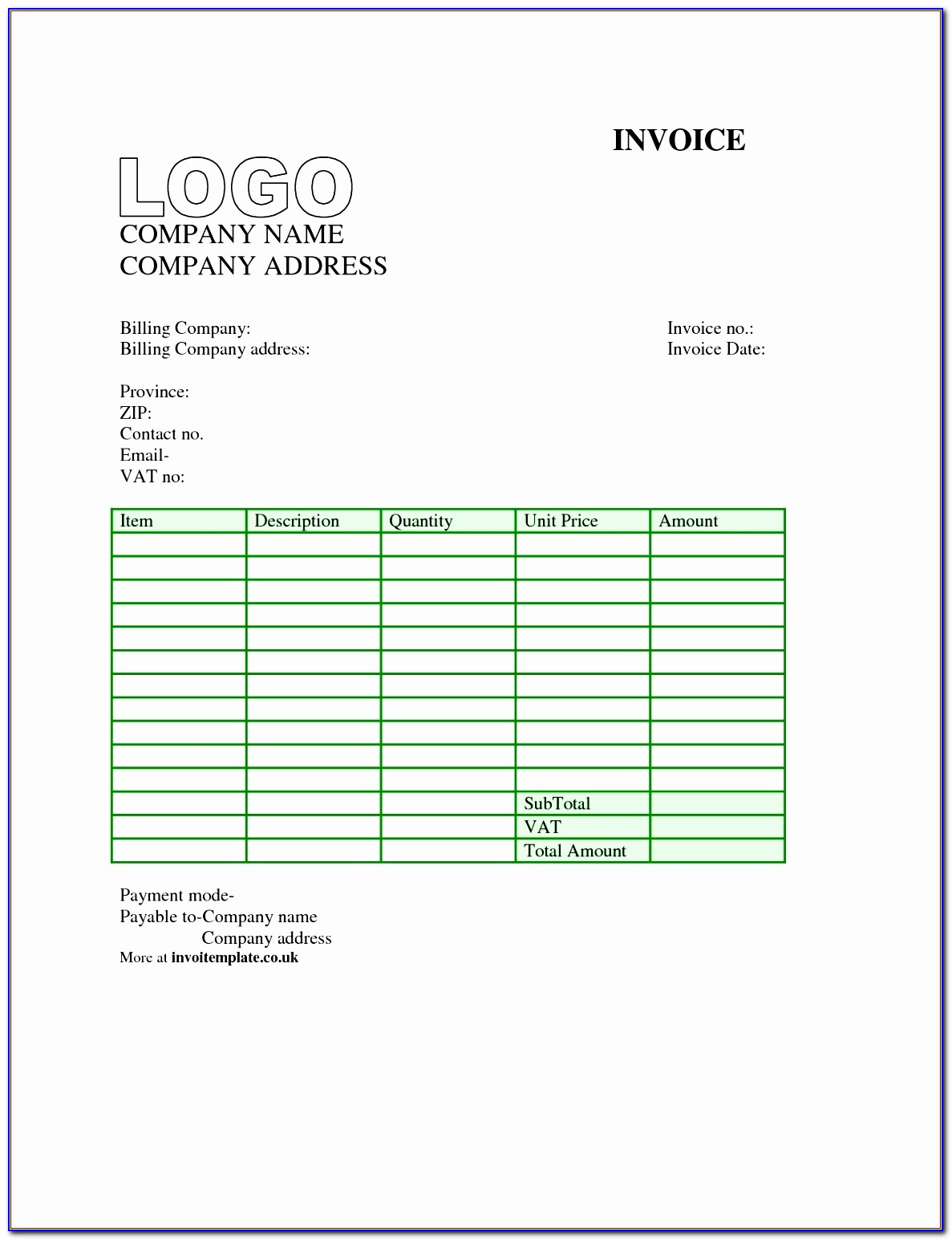 Free Invoice Template For Designers