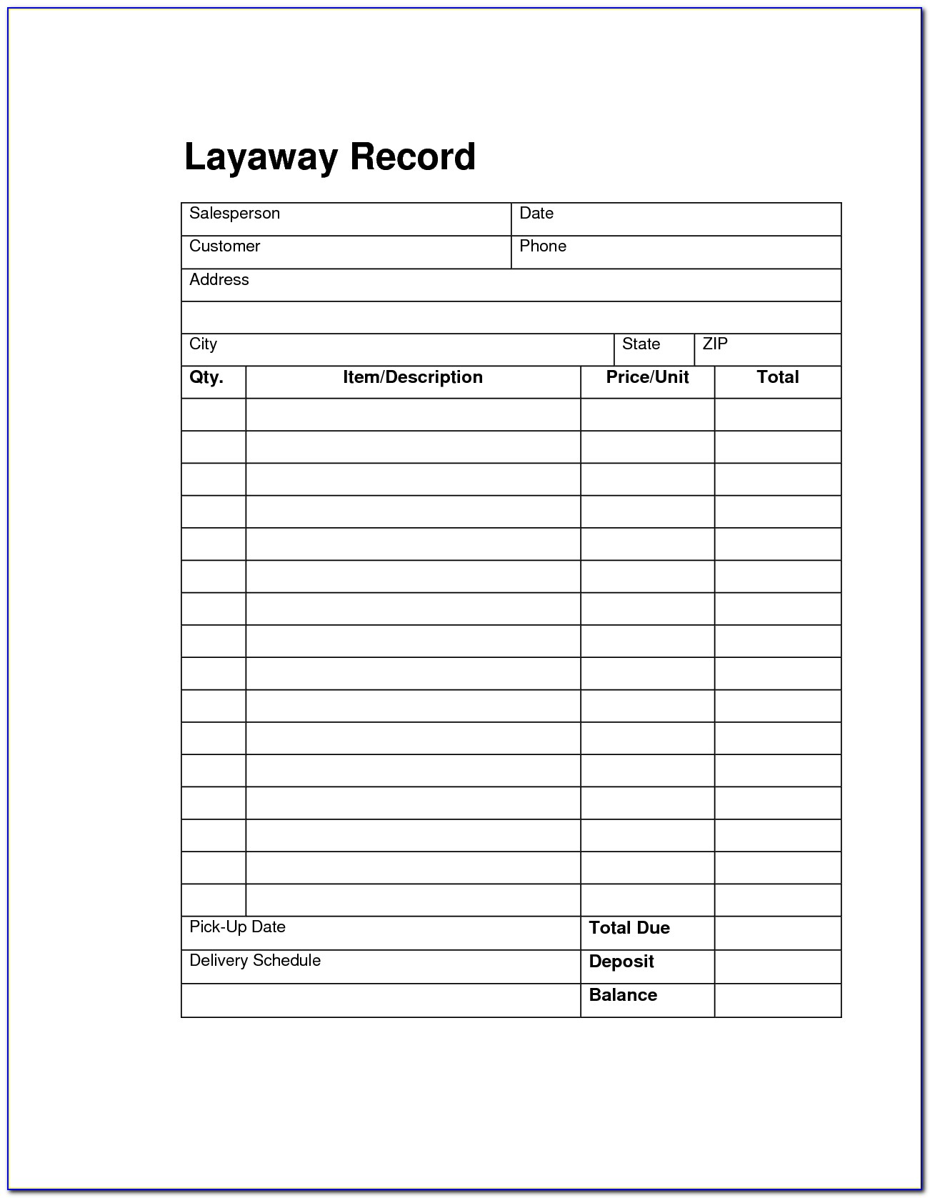 Free Layaway Agreement Template