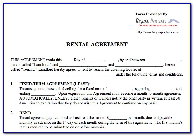 Free Lease Agreement In Word Format