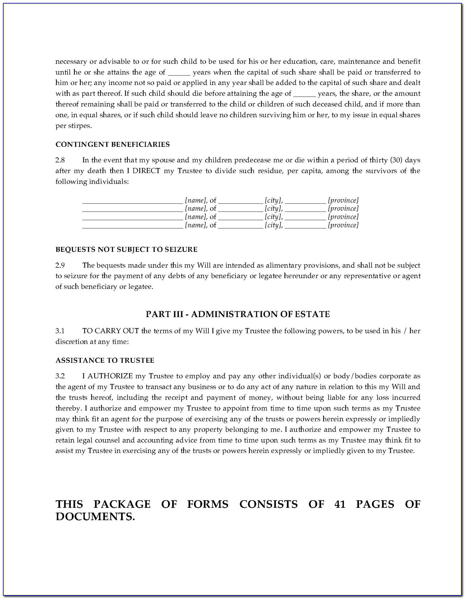Free Legal Document Templates Canada