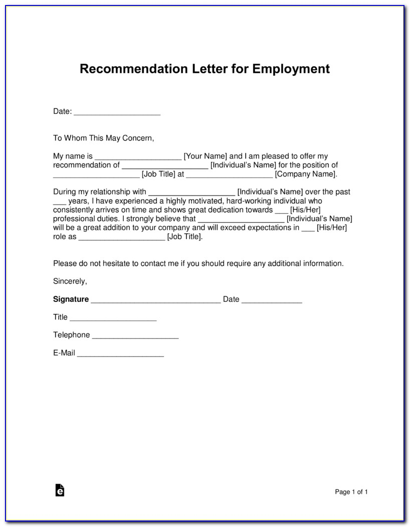 Free Letter Of Recommendation Sample Employment
