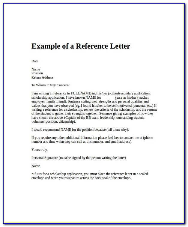 Free Letter Of Recommendation Template Word Doc
