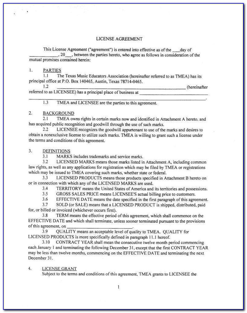 Free License Agreement Forms