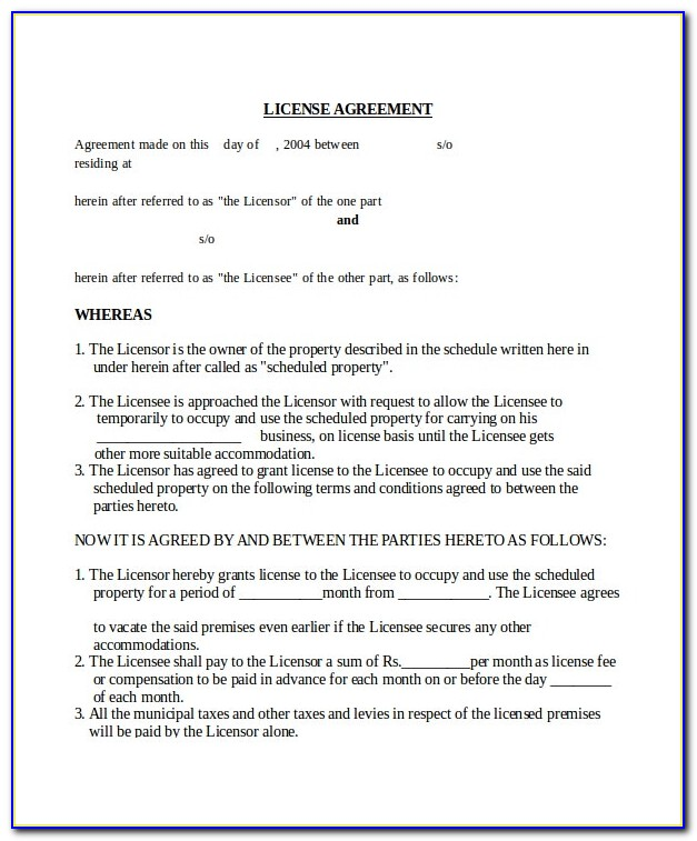 Free License Agreement Sample
