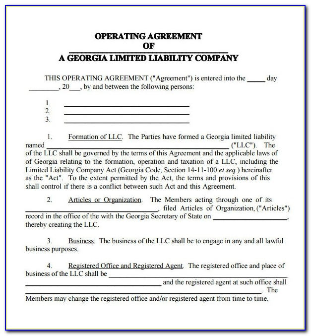 Free Llc Operating Agreement Sample