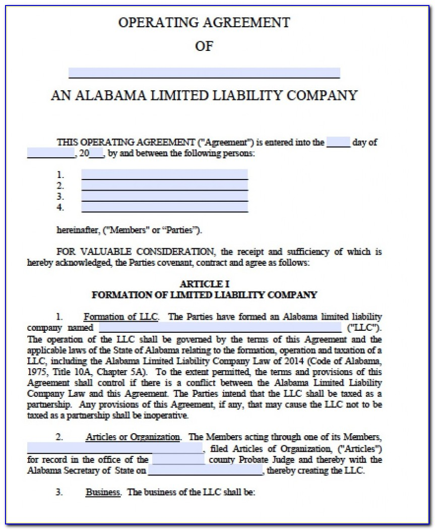 Free Llc Operating Agreement Templates