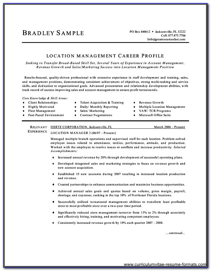 Free Manager Resume Templates