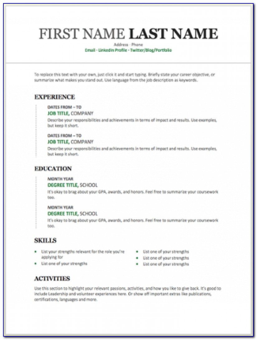 Free Microsoft Resume Templates 2003