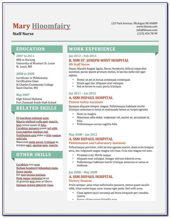 Free Microsoft Resume Templates 2012