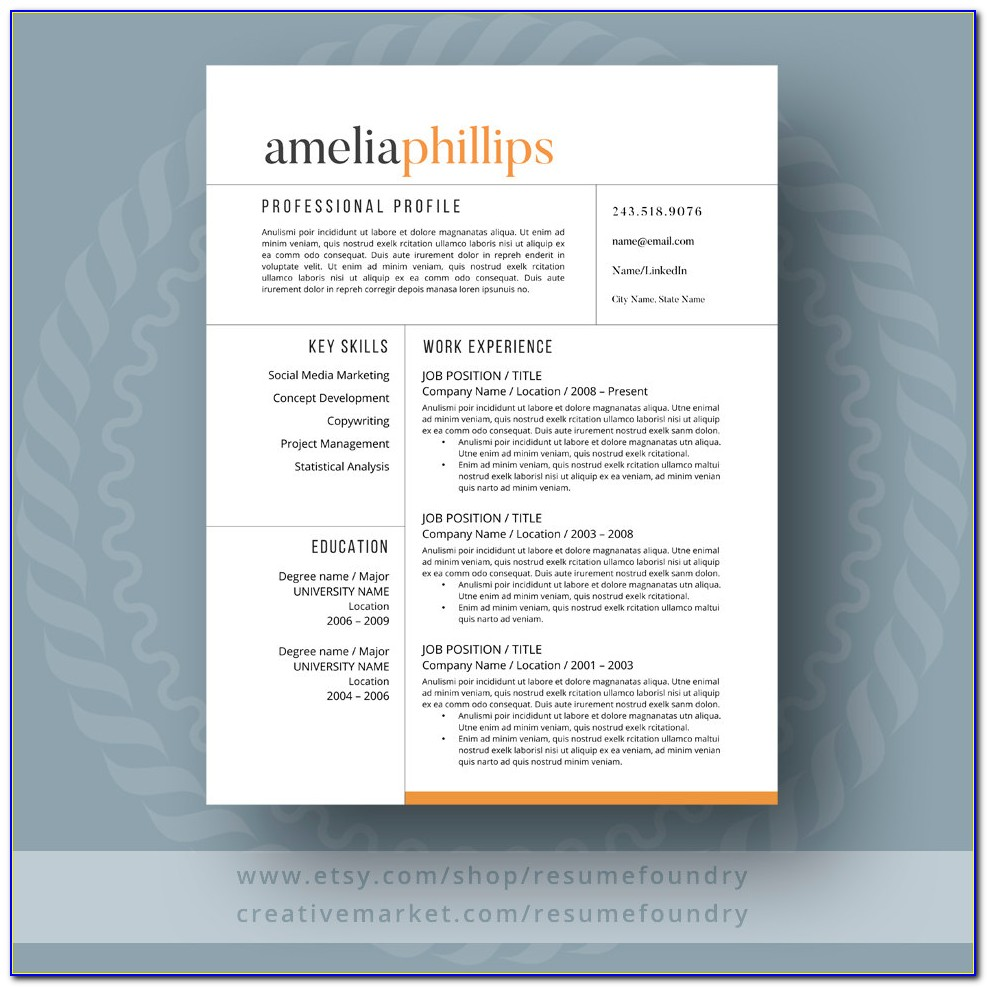 Free Modern Resume Templates Word Format