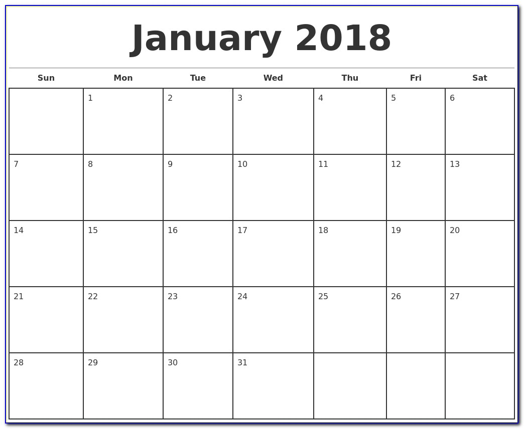 Free Monthly Calendar Template 2018 Printable