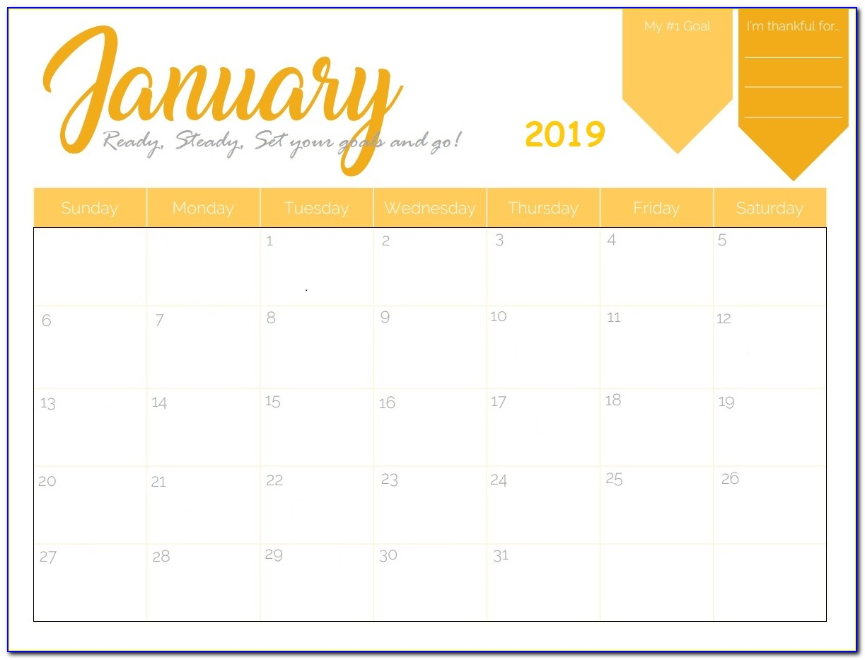 Free Monthly Calendar Template 2019 Word