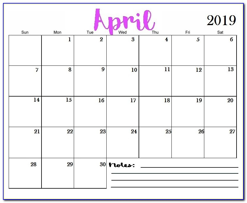 Free Monthly Calendar Template 2020