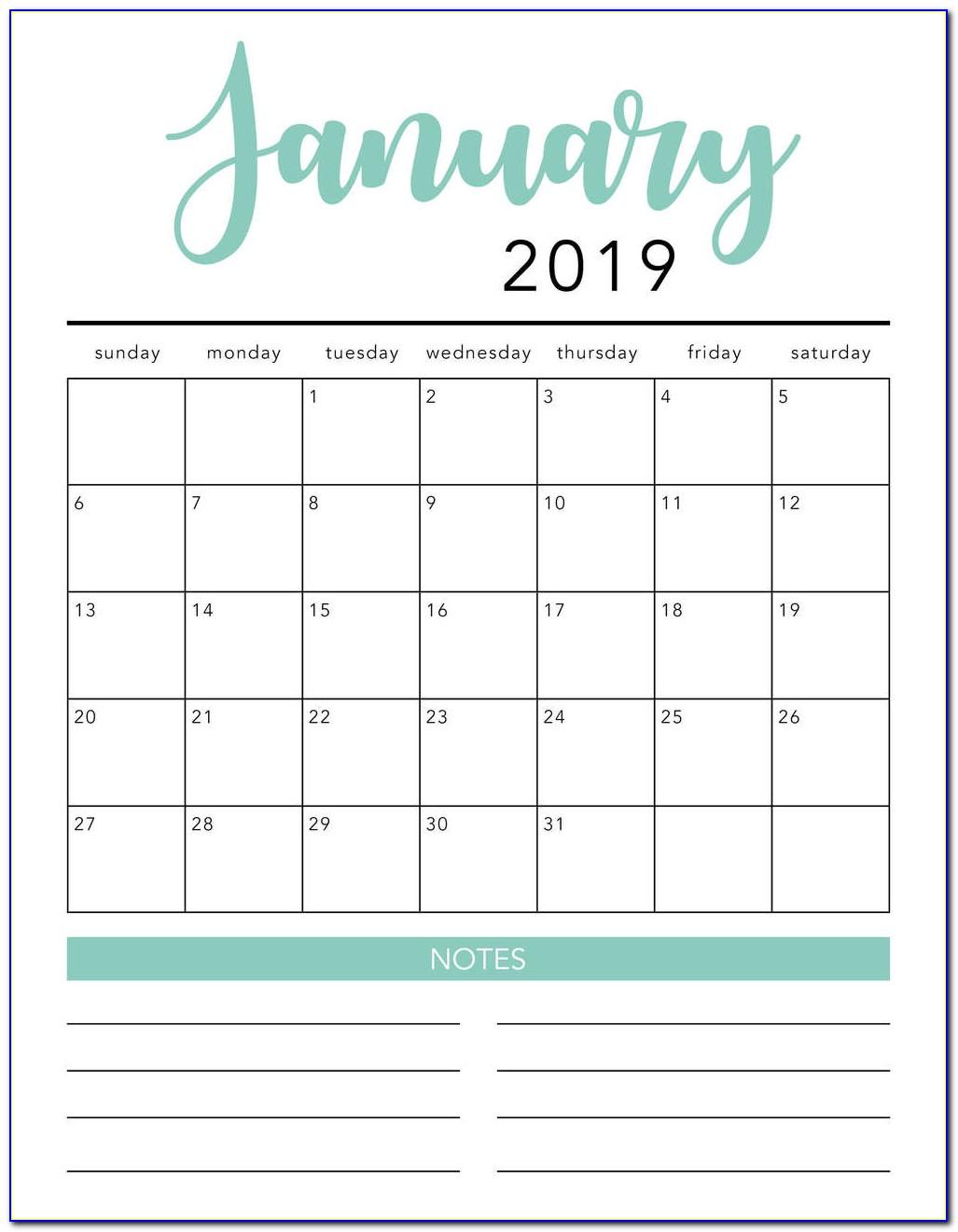 Free Monthly Calendar Templates 2019