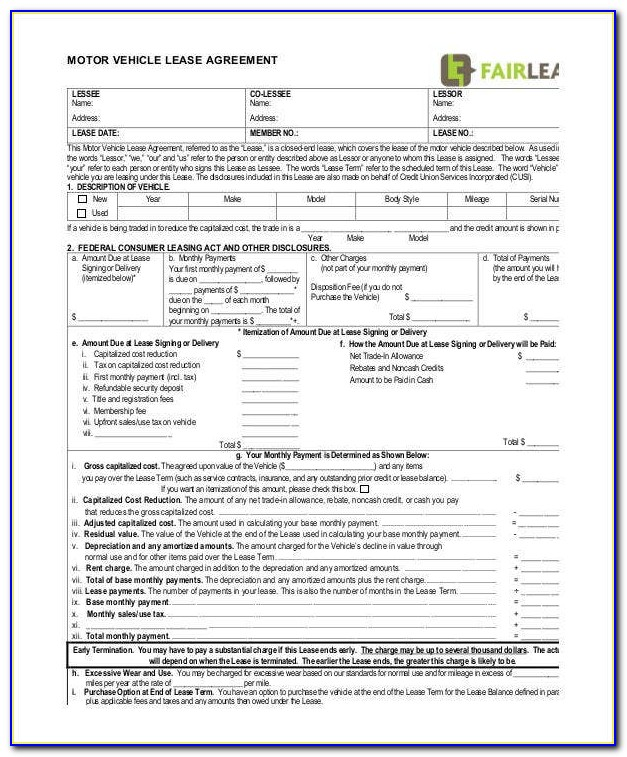 Free Motor Vehicle Lease Agreement Template