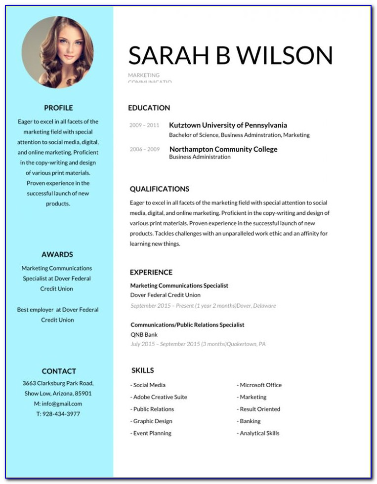 Free Online Editable Resume Templates