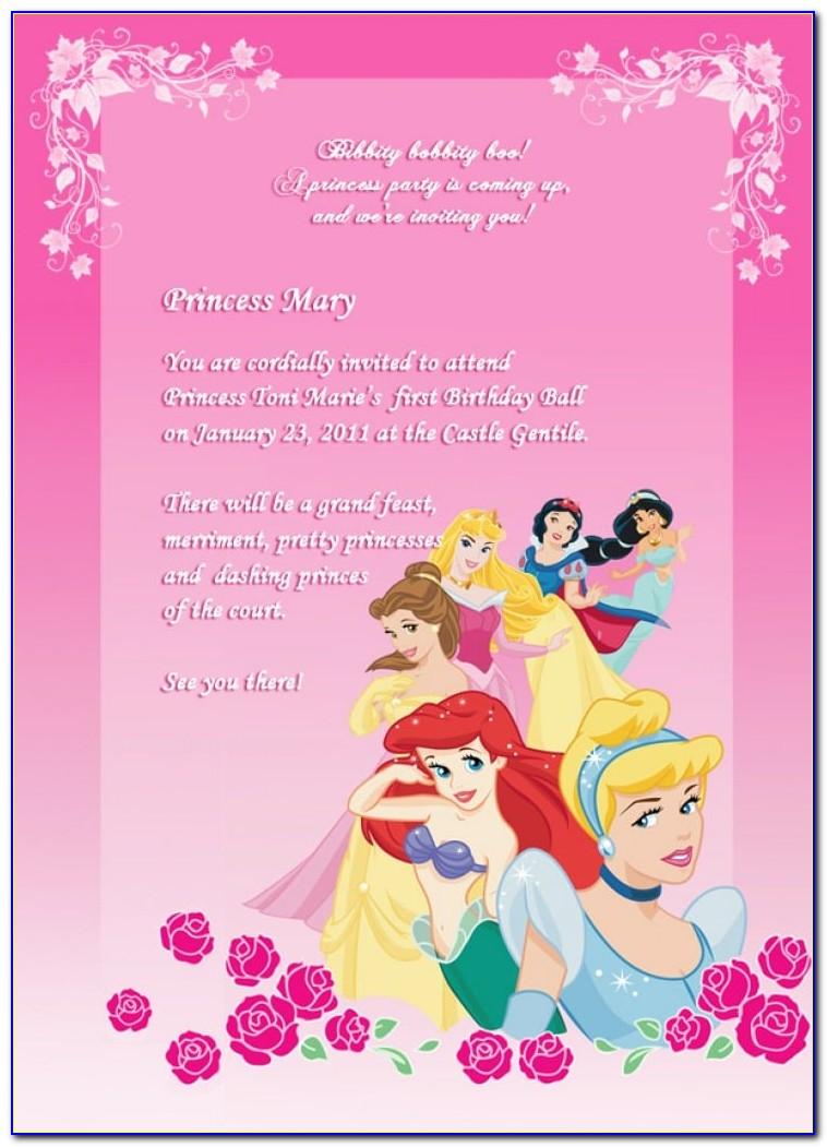 Free Online Princess Birthday Invitation Templates