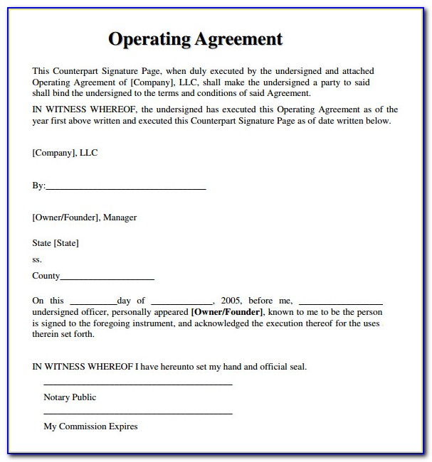 Free Operating Agreement Template Pdf