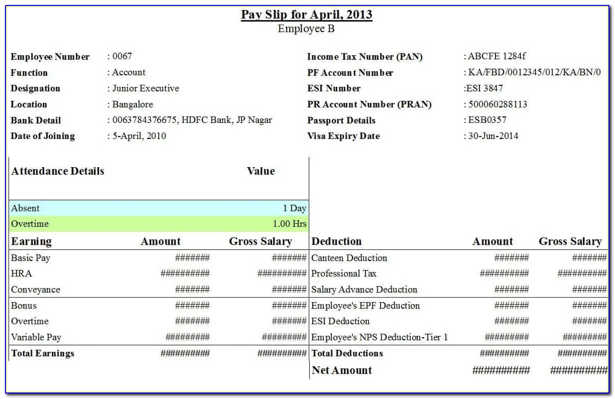 Free Payslip Template Excel Pdf