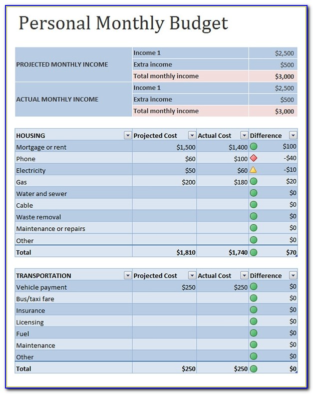 Free Personal Budget Template Excel 2007