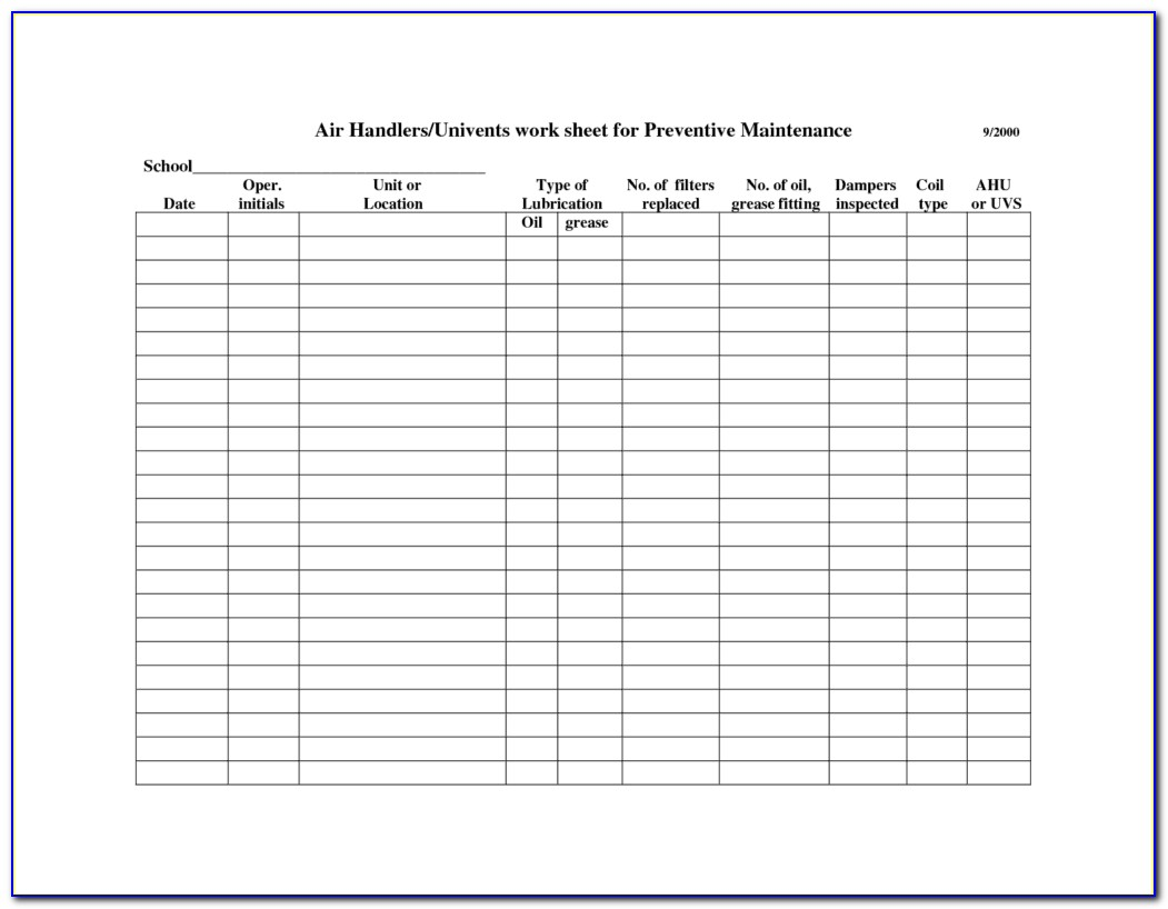 Free Preventive Maintenance Plan Template