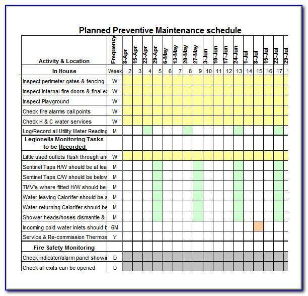 Free Preventive Maintenance Schedule Template Excel