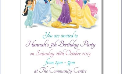 Free Princess Birthday Invitation Card Template