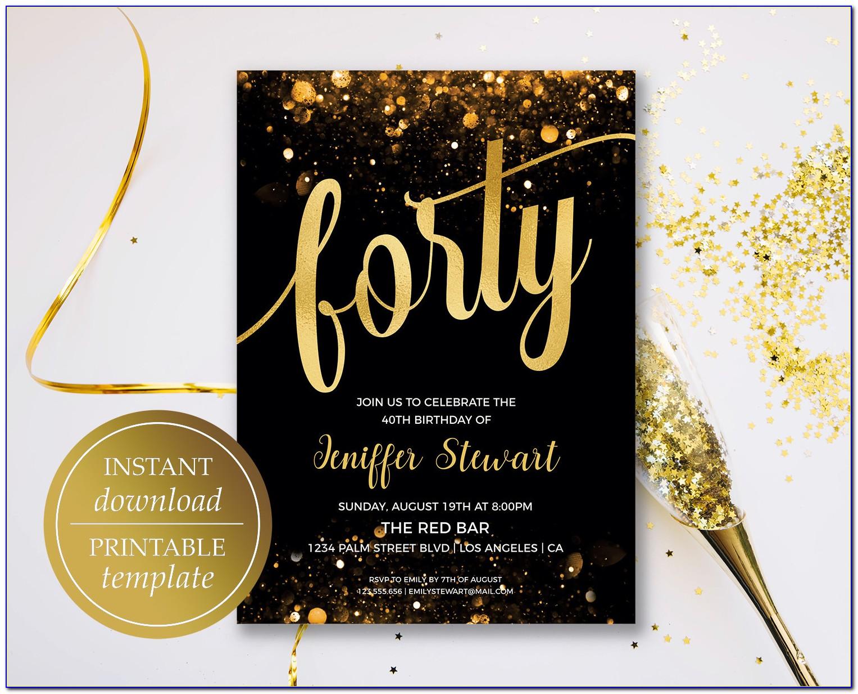 Free Printable 40th Birthday Invitations Templates