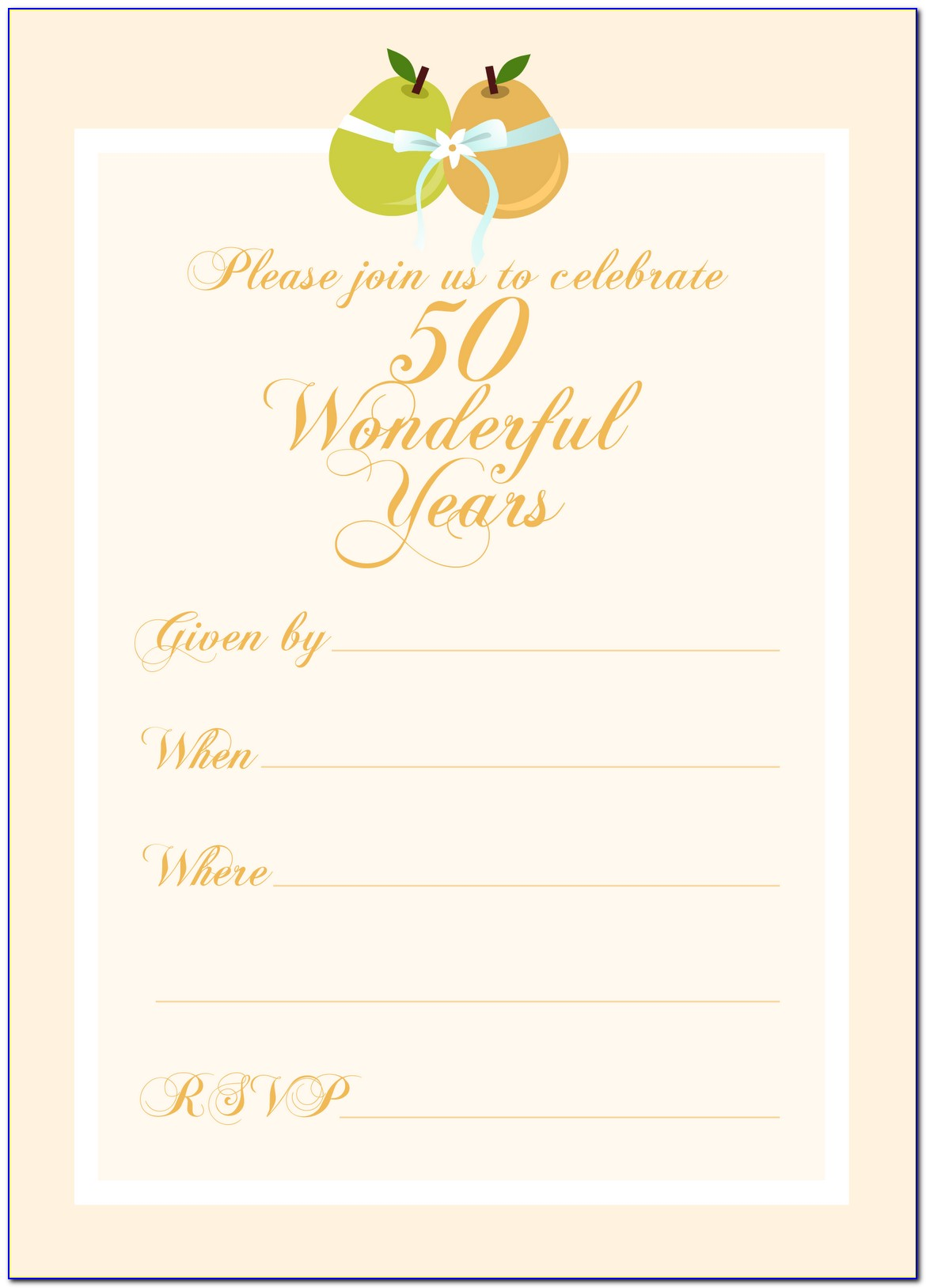 Free Printable 50th Wedding Anniversary Invitation Templates