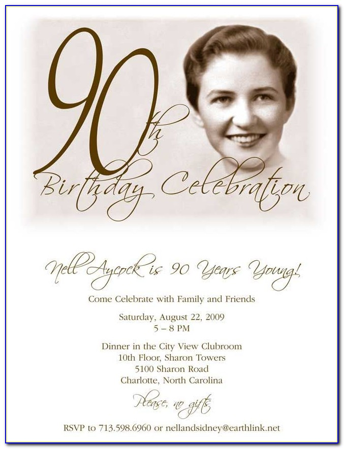 Free Printable 90 Th Birthday Invitation Templates