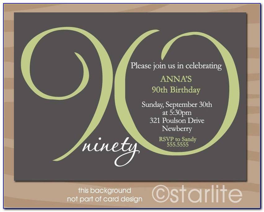 Free Printable 90th Birthday Invitation Templates
