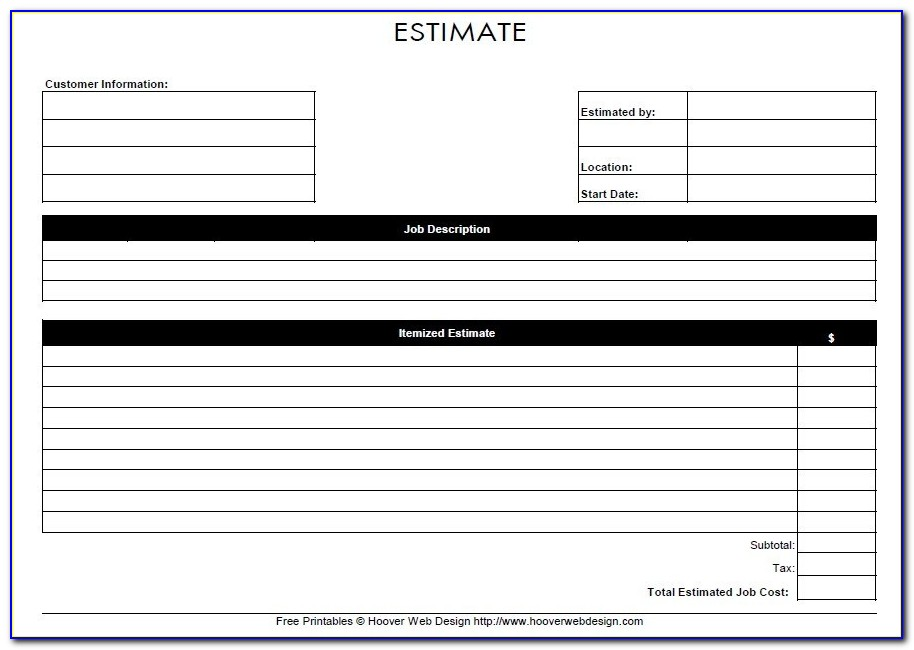 Free Printable Cleaning Estimate Forms