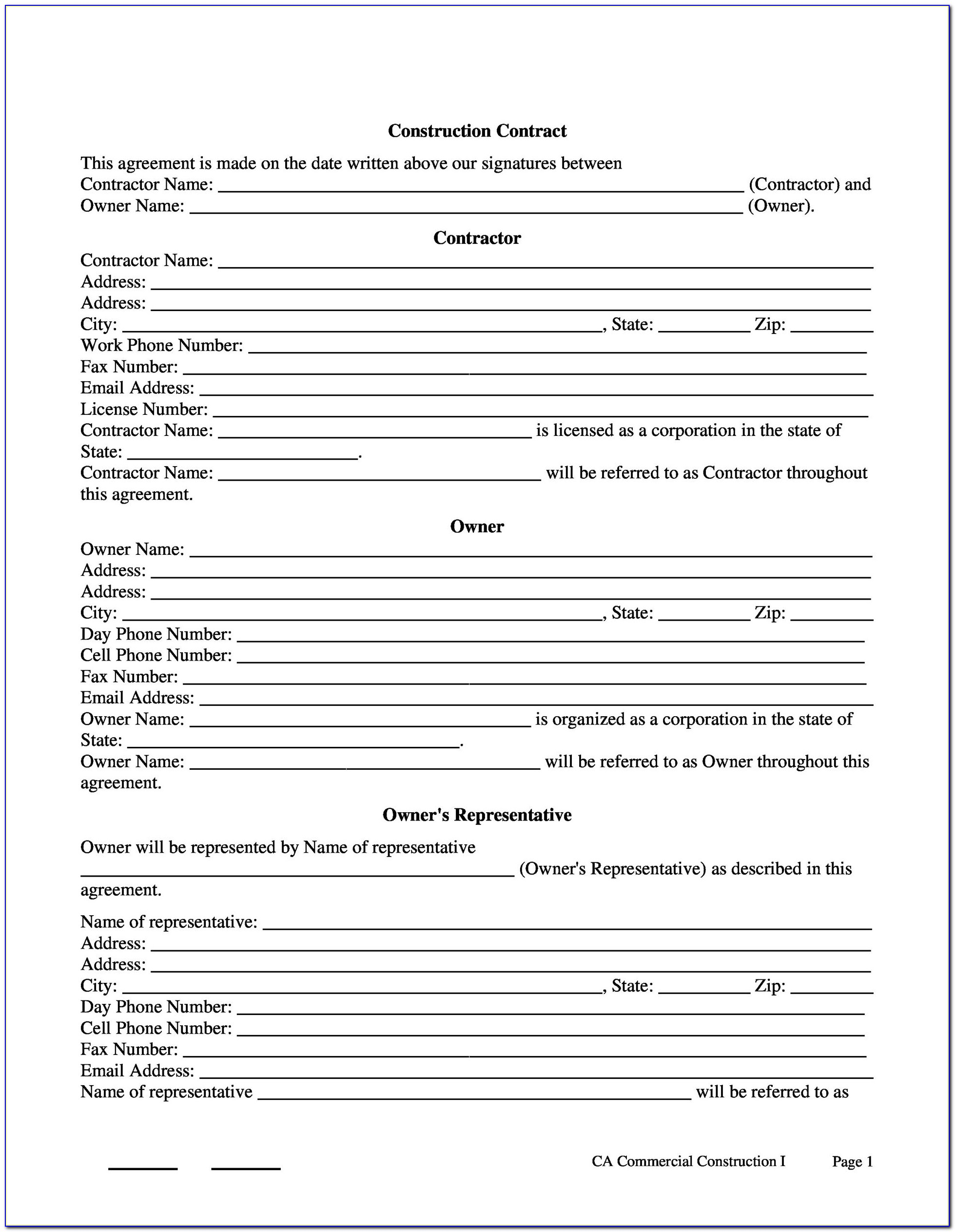 Free Printable Contract Templates