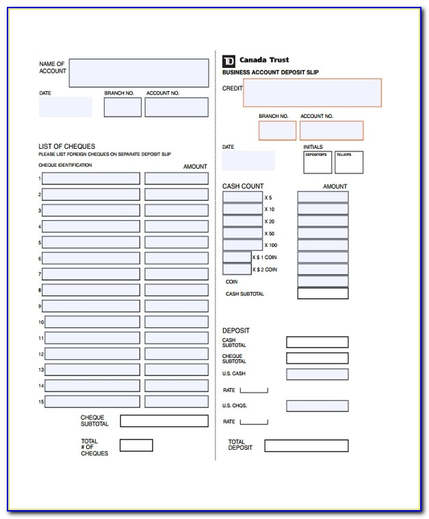 Free Printable Deposit Slip Template