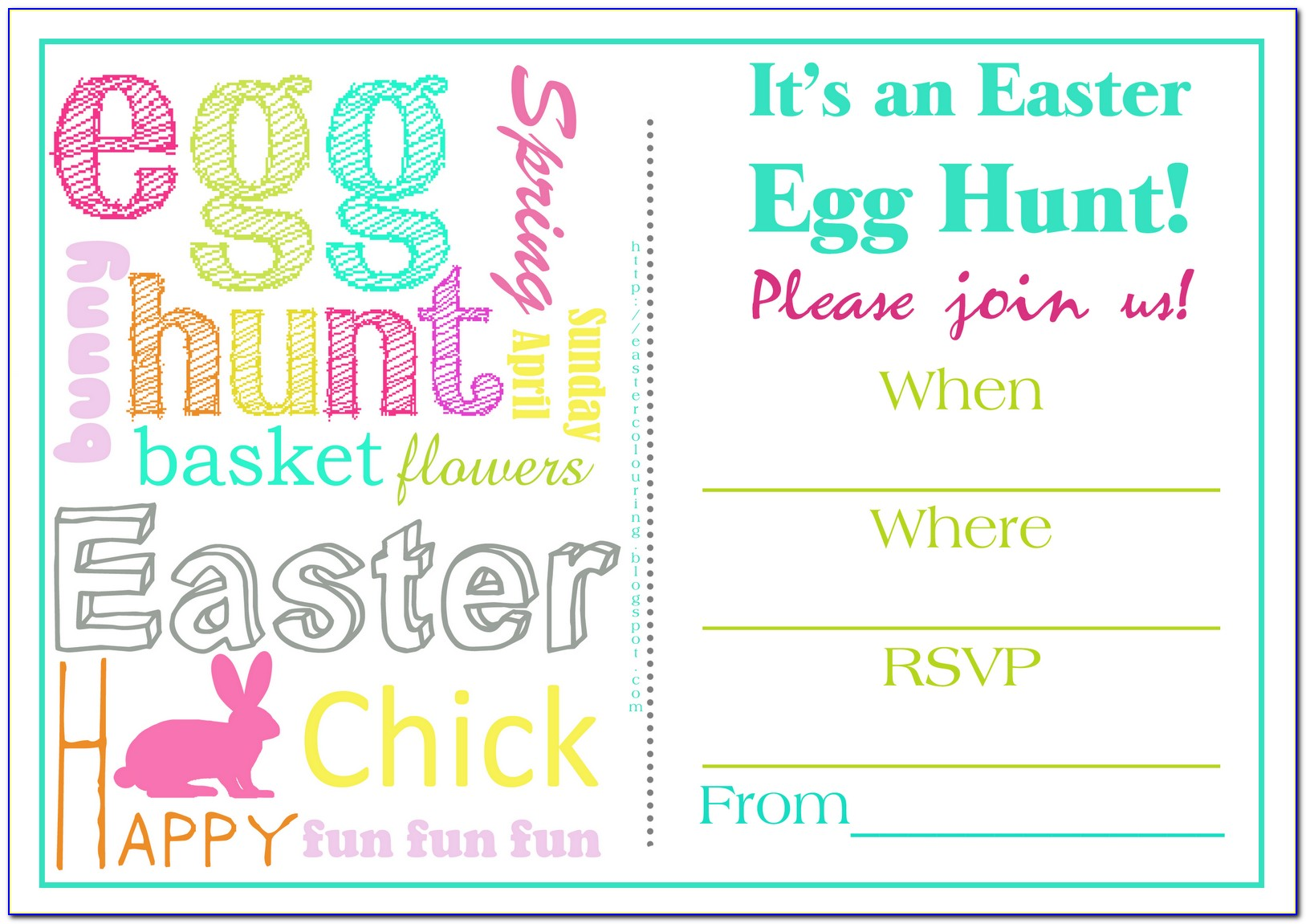 Free Printable Easter Egg Hunt Invitation Templates