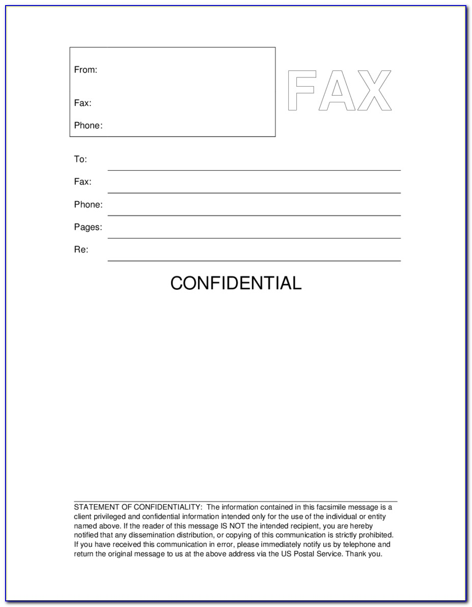 Free Printable Fax Cover Template