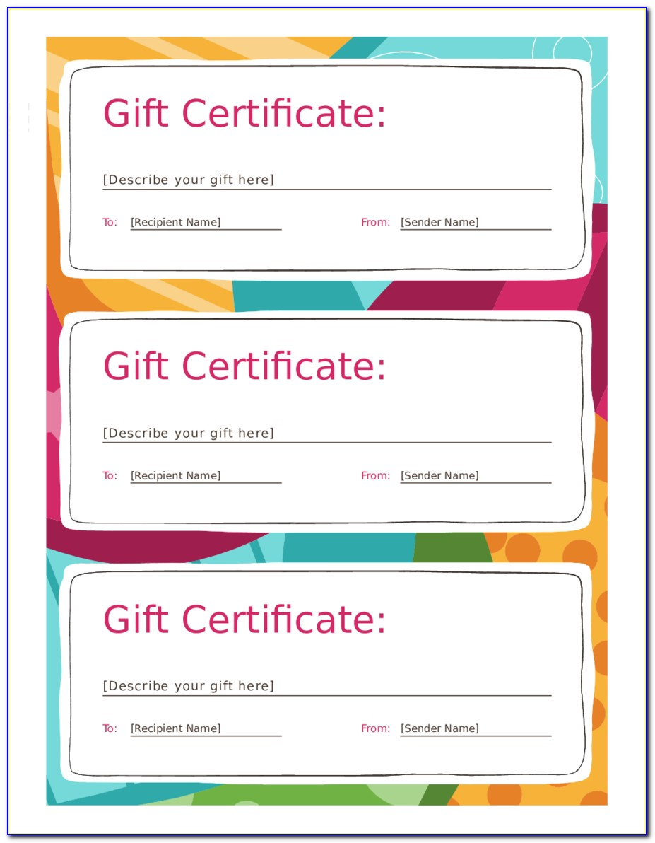 Free Printable Gift Certificate Template Pdf