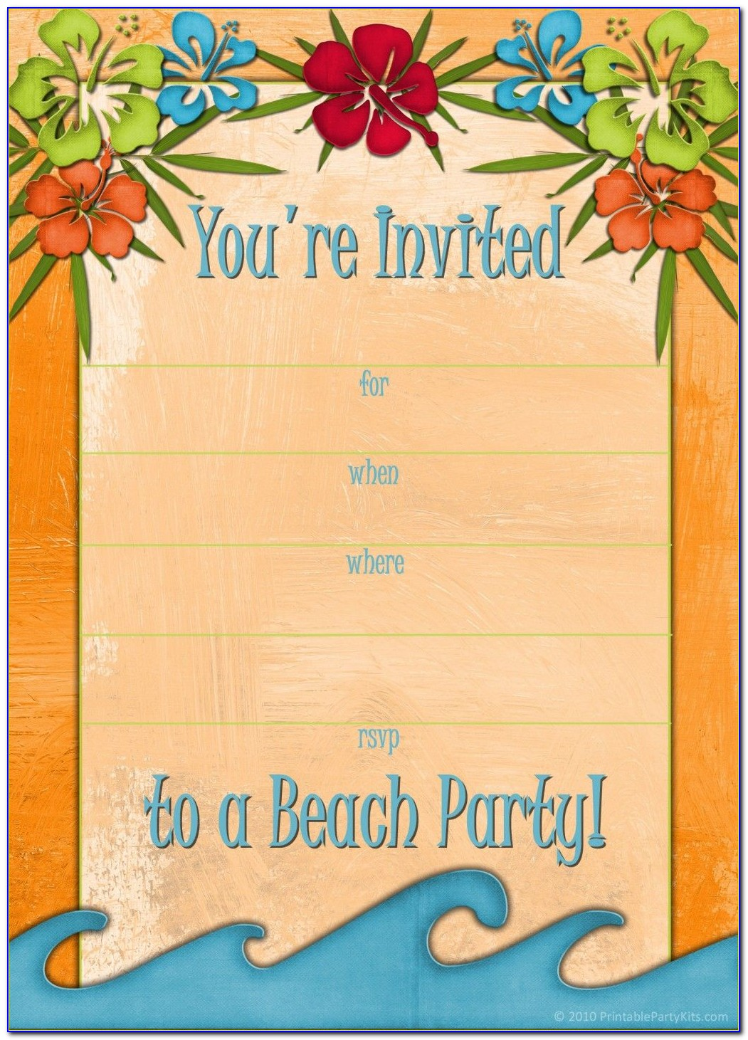 Free Printable Luau Party Invitations Templates