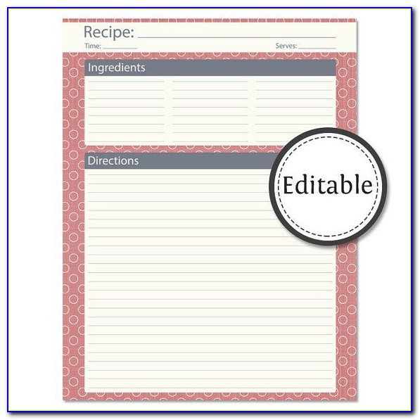 Free Printable Recipe Pages Templates