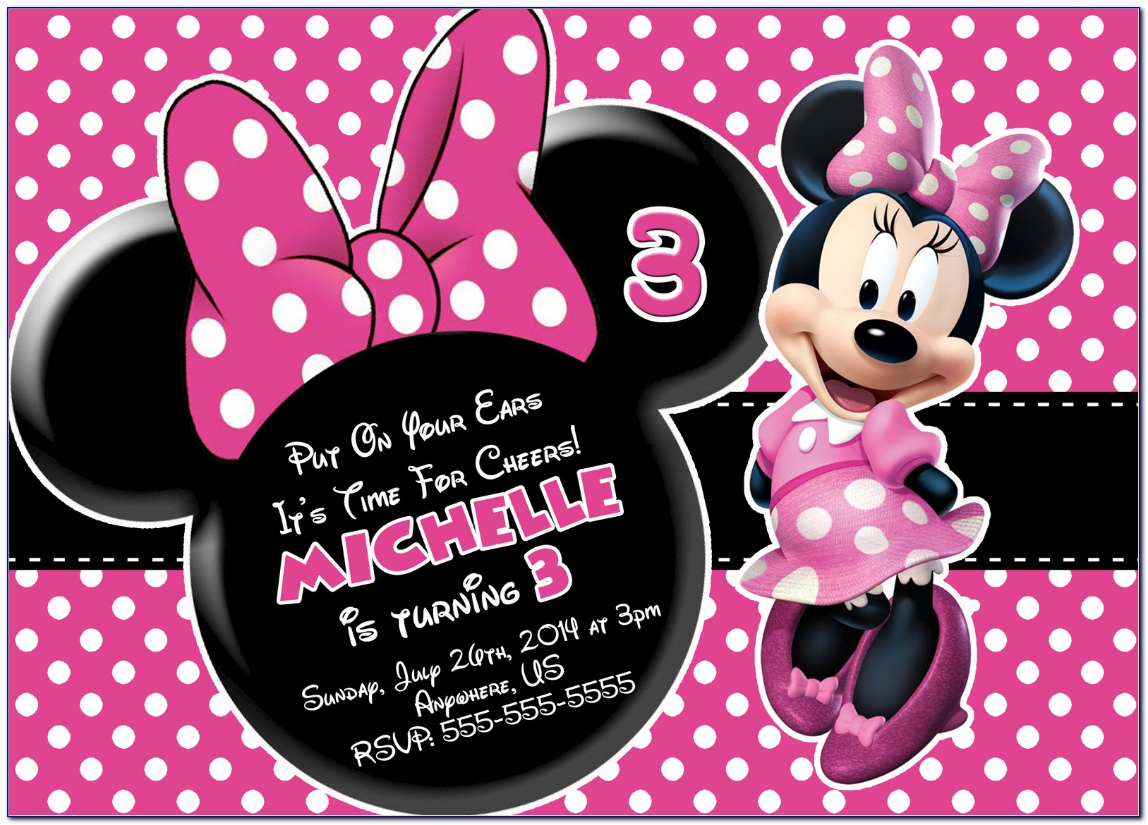 Free Printable Red Minnie Mouse Invitations Template