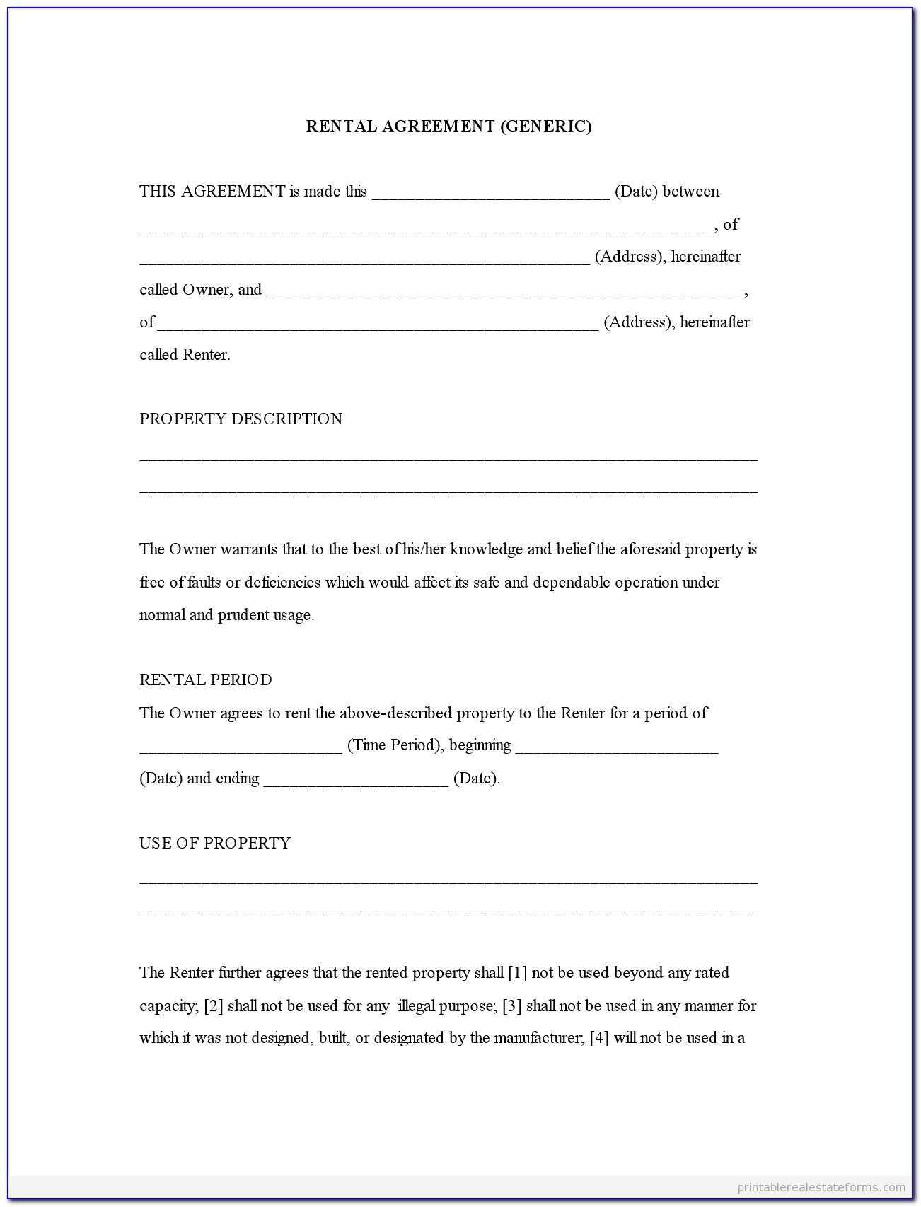 Free Printable Rental Agreement Forms California