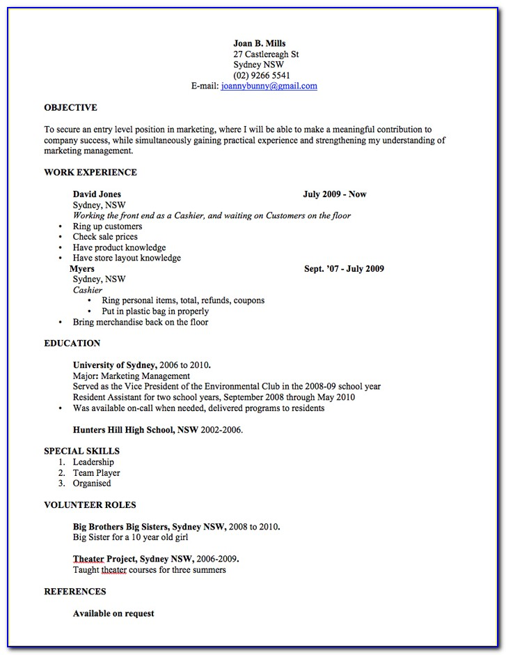 Free Printable Resume Template Australia