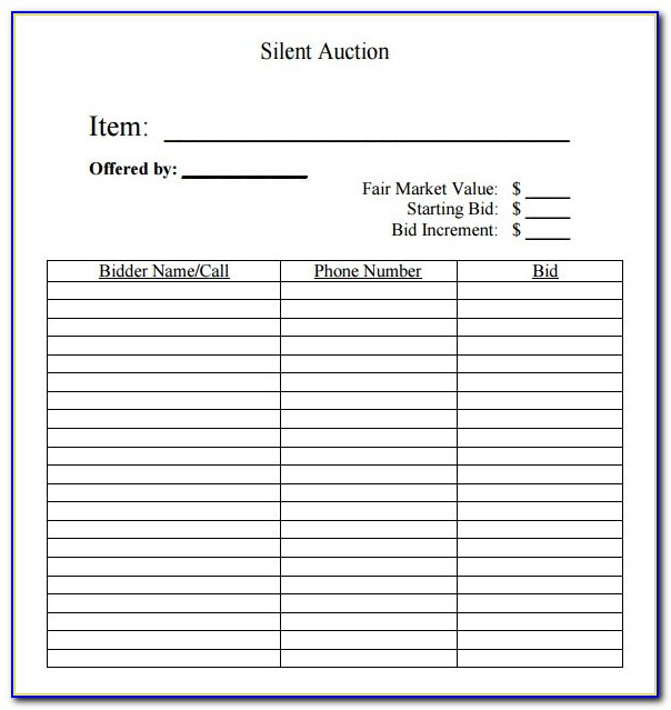 Free Printable Silent Auction Templates