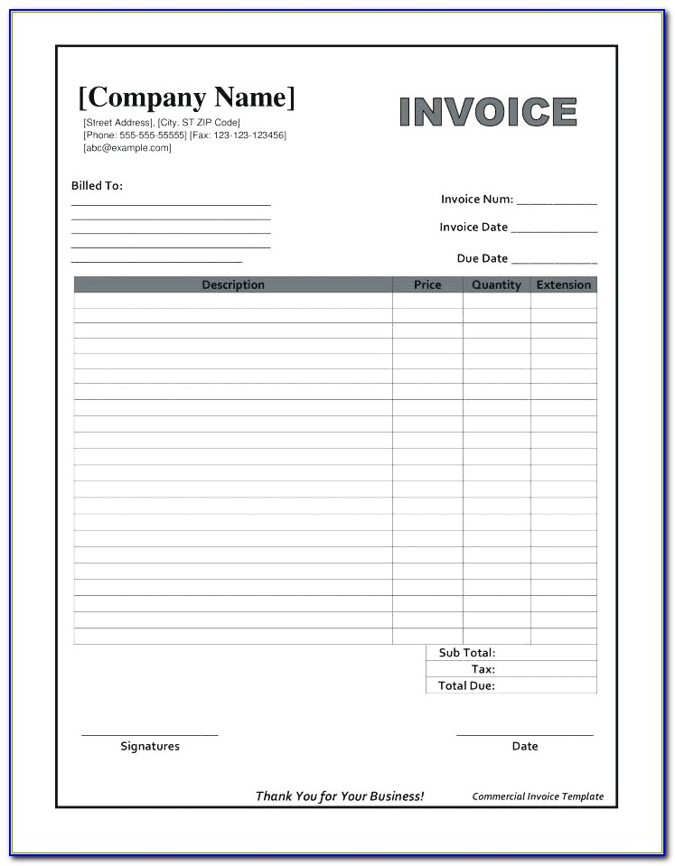 Free Printable Simple Invoice