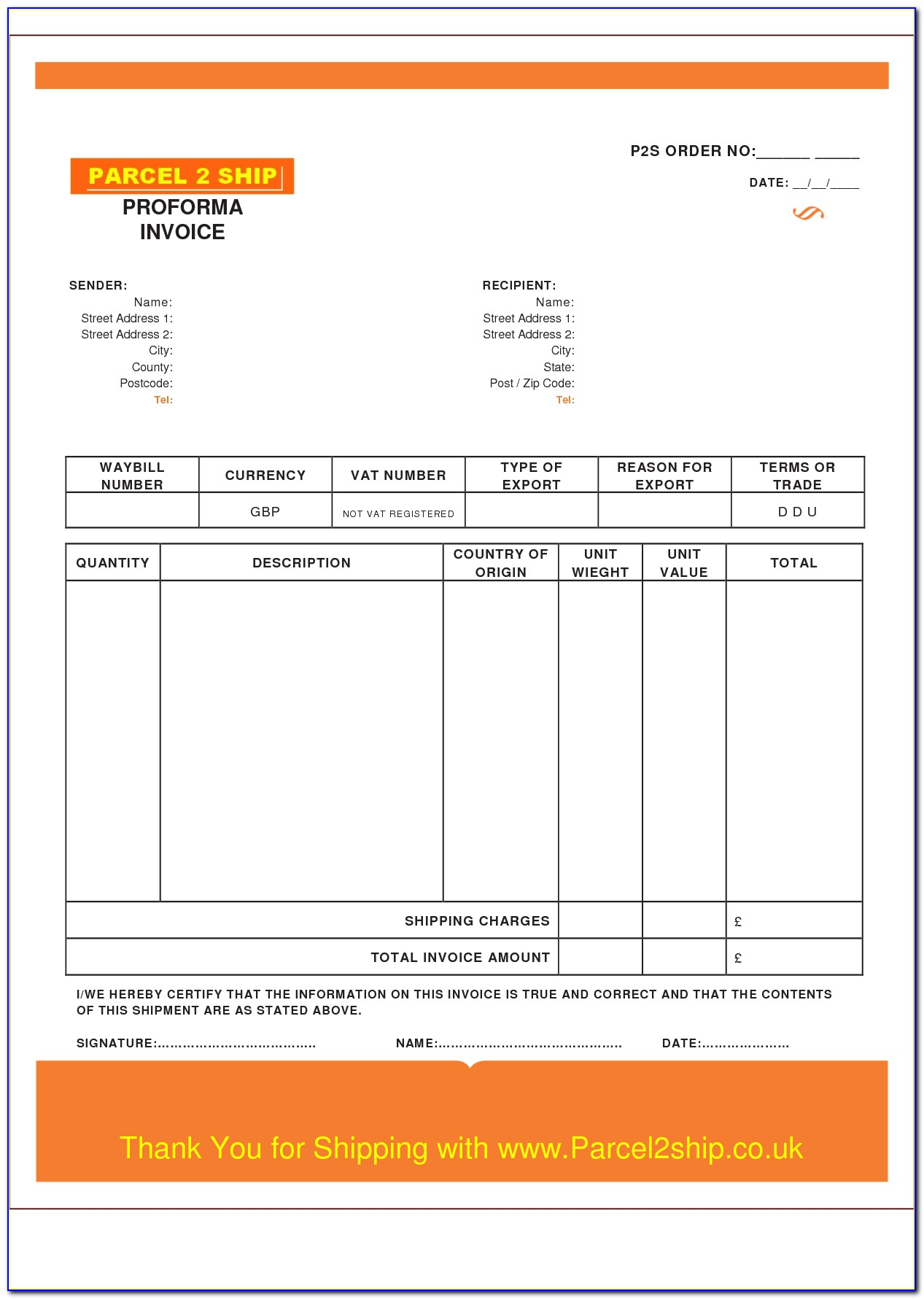 Free Proforma Invoice Template For Mac