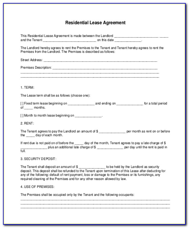Free Rental Lease Agreement Forms Printable