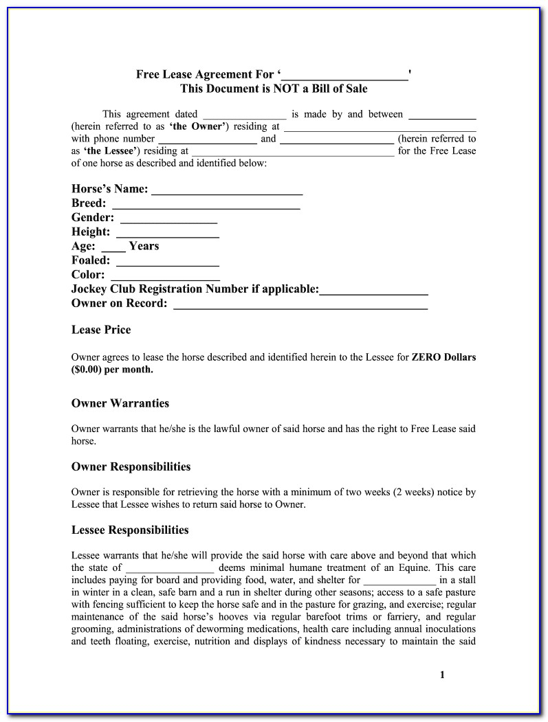 Free Rental Lease Agreement Word Document