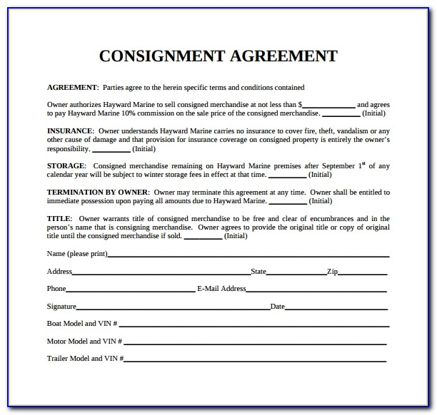 Free Sample Consignment Agreement