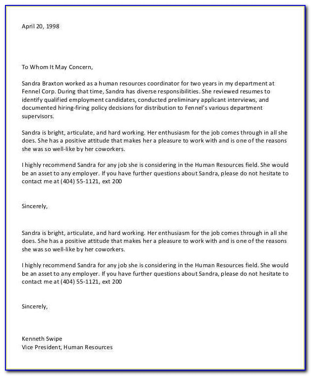 Free Sample Letter Of Recommendation For A Friend