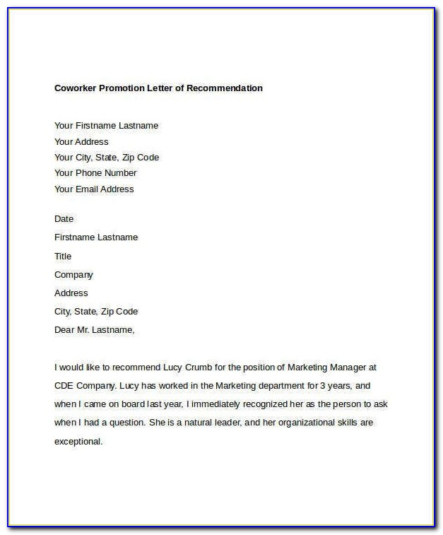 Free Sample Letter Of Recommendation For Coworker